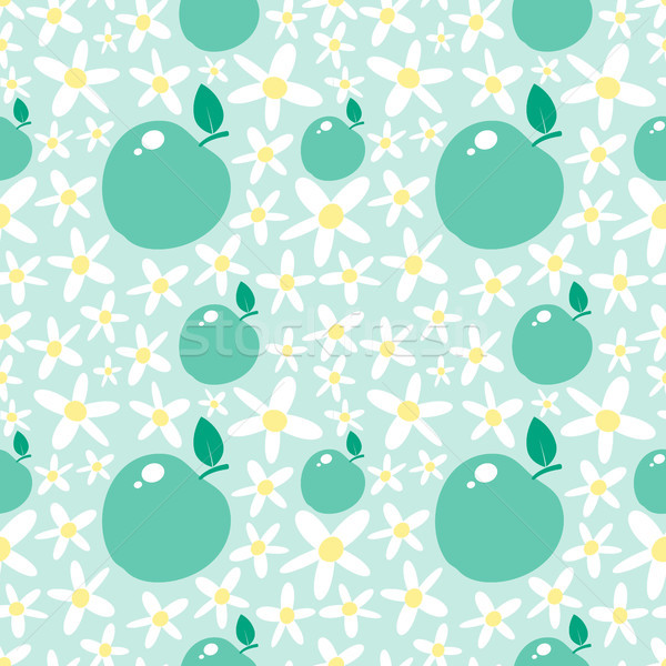 Green seamless pattern with apples and daisies Stock photo © jara3000