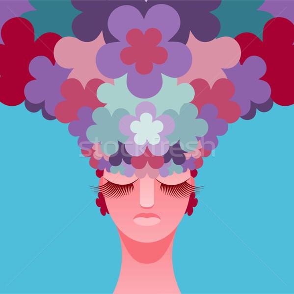 Fej virágok haj vektor eps 10 Stock fotó © jara3000