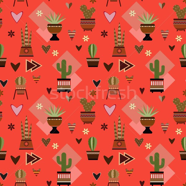 seamless red background with cactuses Stock photo © jara3000