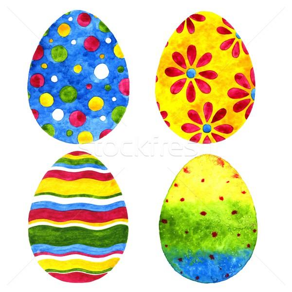 Easter eggs acquerello illustrazione bianco vernice uovo Foto d'archivio © jara3000