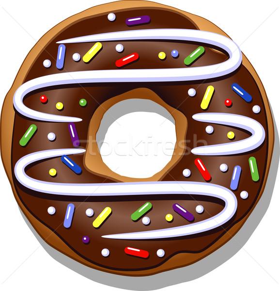 Chocolade donut geïsoleerd witte kunst schilderij Stockfoto © jara3000