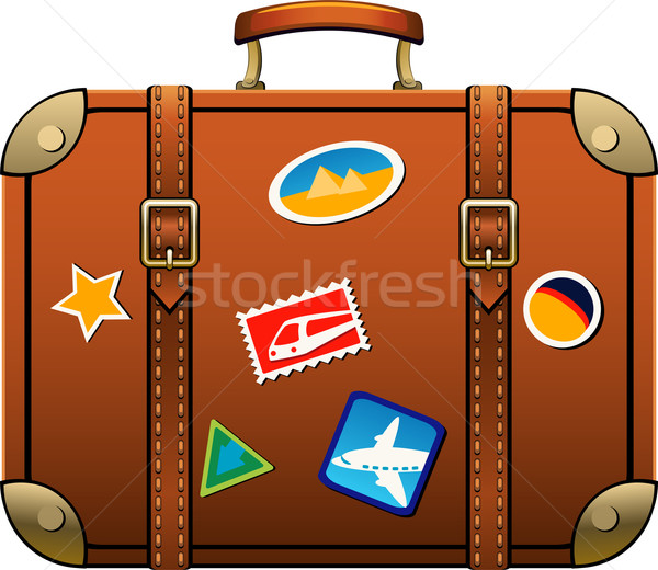 Photo stock: Valise · isolé · blanche · eps · sac · vacances