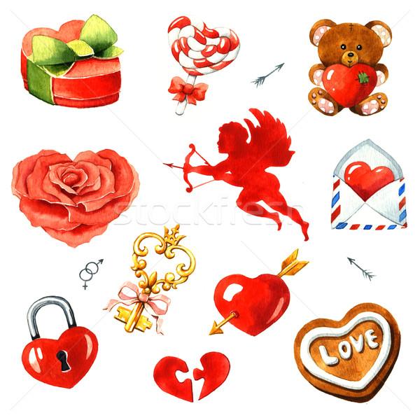 Día de san valentín acuarela clipart blanco corazón ángel Foto stock © jara3000