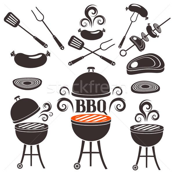 Conjunto elementos churrasco projeto comida fogo Foto stock © jara3000