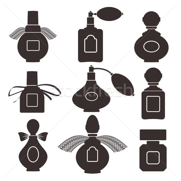 Colección siluetas botellas perfume vector eps Foto stock © jara3000