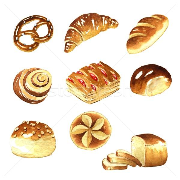 Aquarela pão gráficos branco comida Foto stock © jara3000