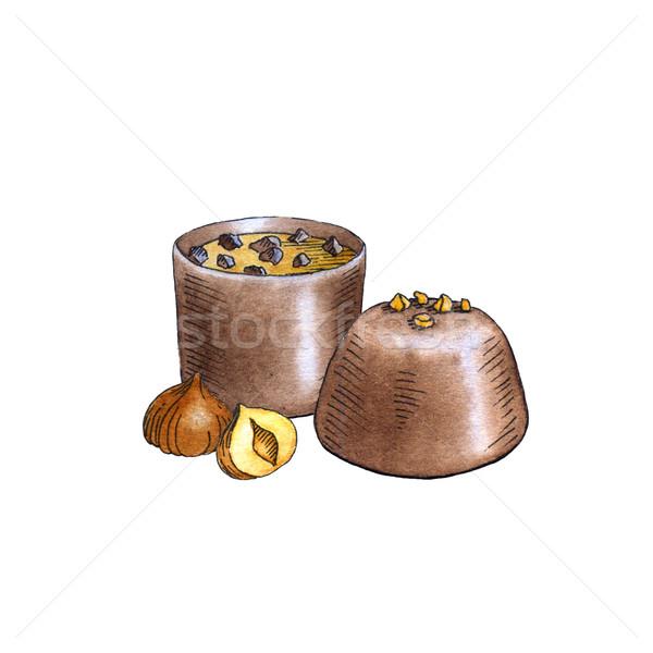 Stok fotoğraf: Suluboya · çikolata · beyaz · gıda · grup