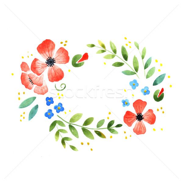акварель цветочный декоративный элемент белый цветы Сток-фото © jara3000