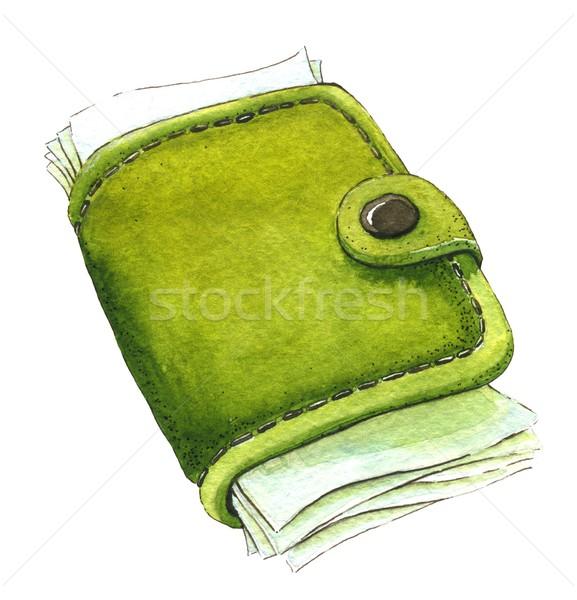 Carteira dinheiro aquarela ilustração compras cor Foto stock © jara3000