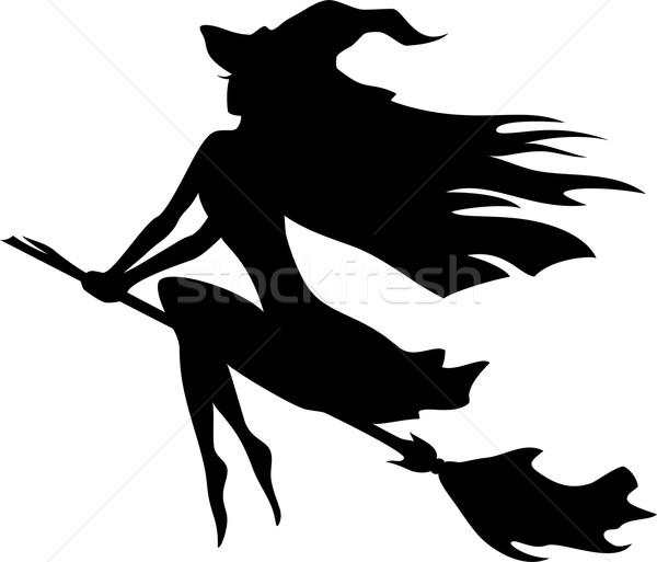 Foto stock: Bruxa · voador · cabo · de · vassoura · vetor · silhueta · mulheres