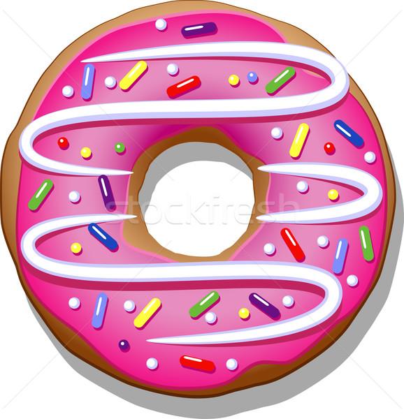 Donut donut roze icing witte kunst Stockfoto © jara3000