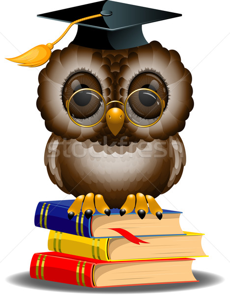 Wise owl on a stack of books Stock photo © jara3000