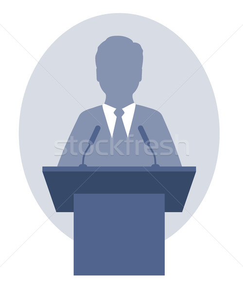 Vector illustration of a man speaking a speech from the rostrum Stock photo © jara3000