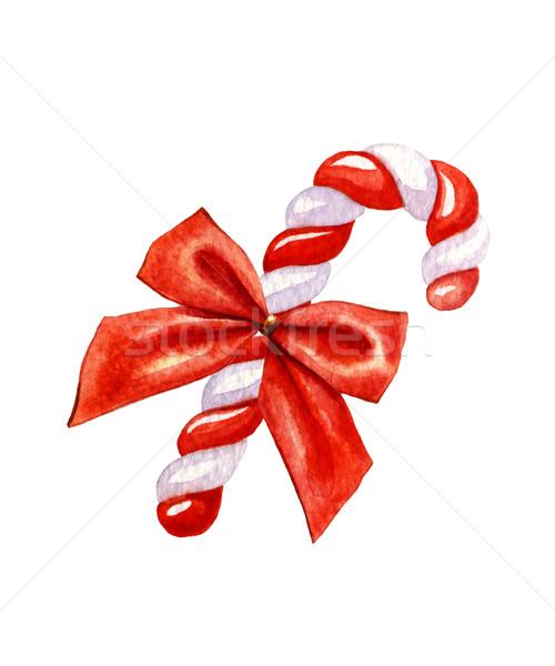 Photo stock: Bonbons · canne · couleur · pour · aquarelle · décoré · rouge · arc