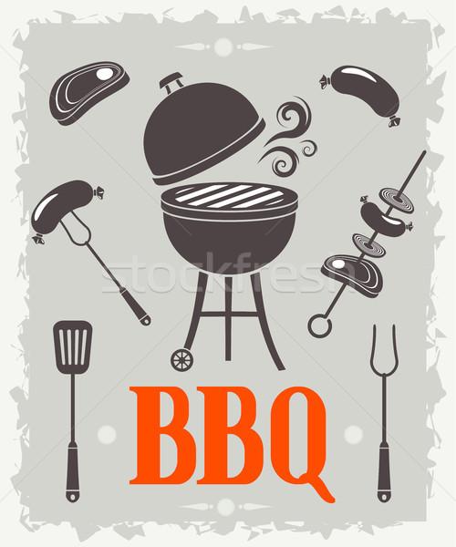 Bbq poster eps 10 ontwerp teken Stockfoto © jara3000