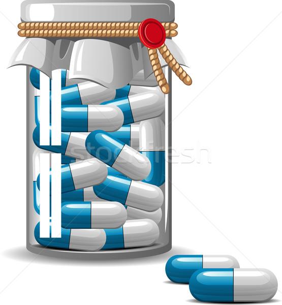 Medici bottiglia bianco eps medicina blu Foto d'archivio © jara3000