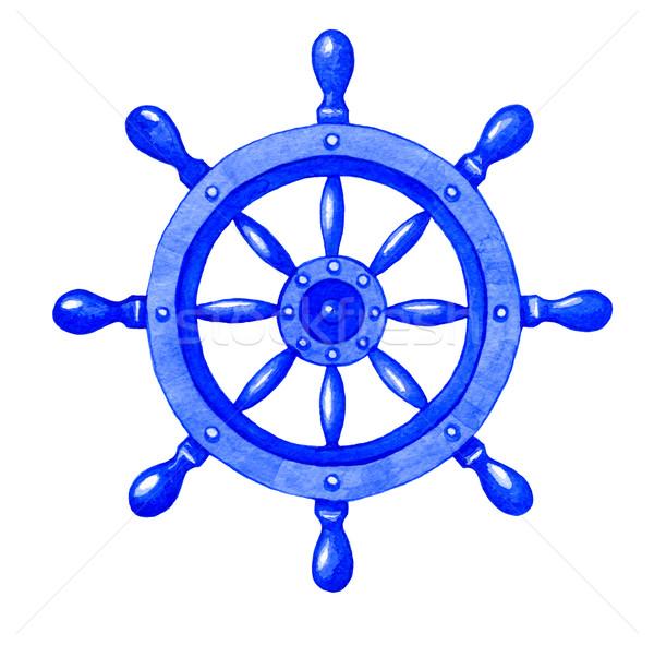 Navio roda aquarela ilustração branco mar Foto stock © jara3000