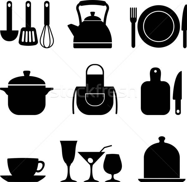 Keuken negen vector iconen eps Stockfoto © jara3000