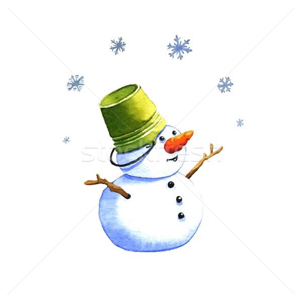 Pupazzo di neve acquerello illustrazione bianco inverno blu Foto d'archivio © jara3000