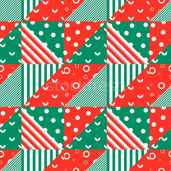 Meetkundig ornament naadloos groene Rood Stockfoto © jara3000