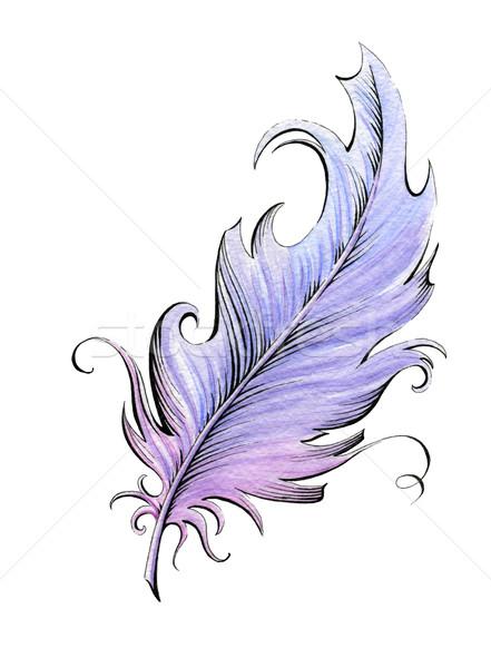 Piuma acquerello illustrazione bianco design bellezza Foto d'archivio © jara3000