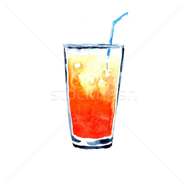 Sinaasappelsap aquarel illustratie witte glas oranje Stockfoto © jara3000