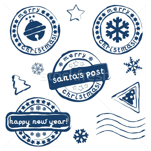Collection of Christmas postage stamps Stock photo © jara3000
