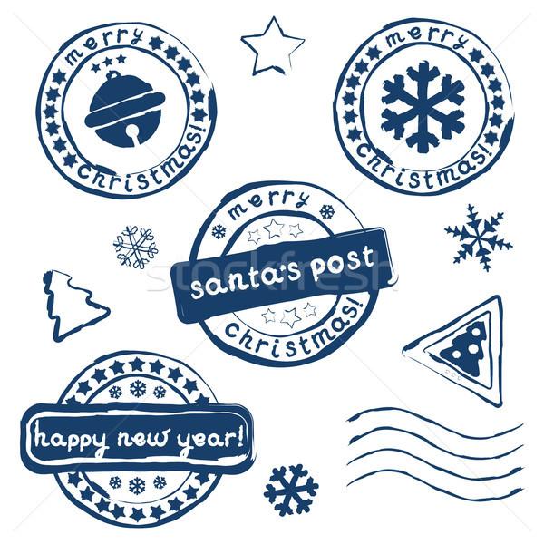 Coleção natal selos branco eps 10 Foto stock © jara3000