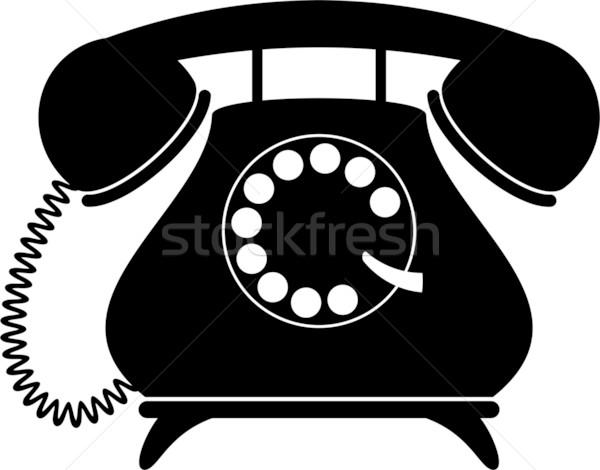 Retro telefono silhouette bianco nero eps telefono Foto d'archivio © jara3000