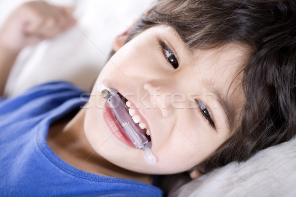 Disabled boy wearing a mouth guard Stock photo © jarenwicklund