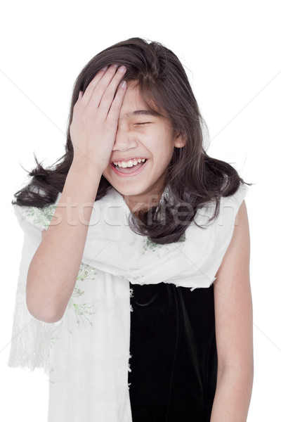 Young girl slapping herself on the head, laughing Stock photo © jarenwicklund