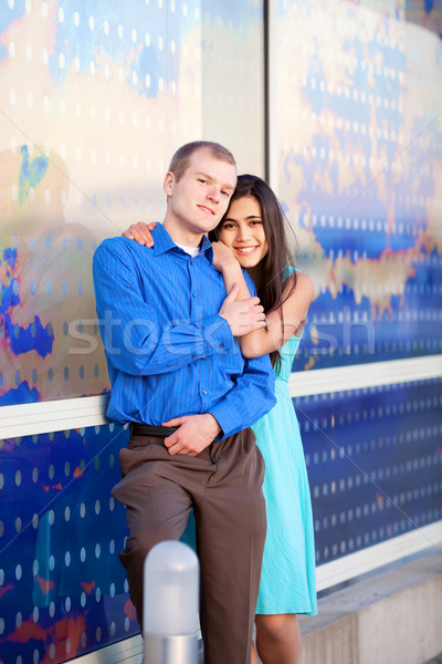 Happy interracial couple together outdoors Stock photo © jarenwicklund