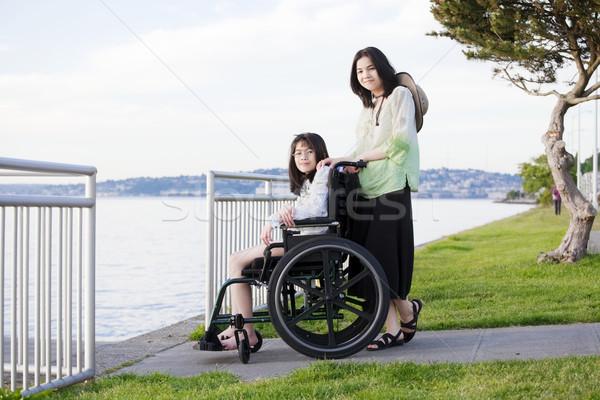 Stockfoto: Zorg · zus · rolstoel · strand · jonge