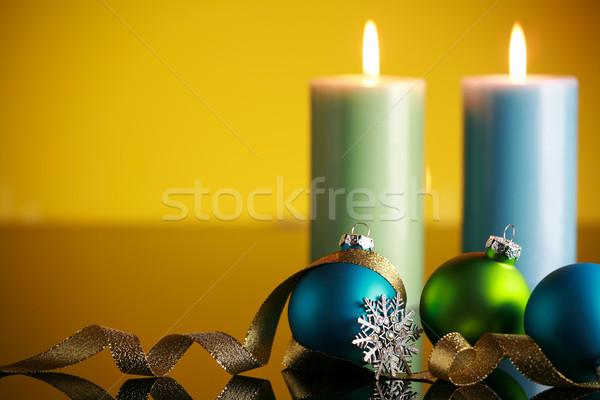 Noël décorations jaune flocon de neige or ruban Photo stock © jarenwicklund