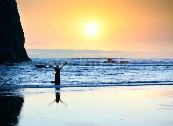 Girl standing in waves, arms raised to sky at sunset Stock photo © jarenwicklund