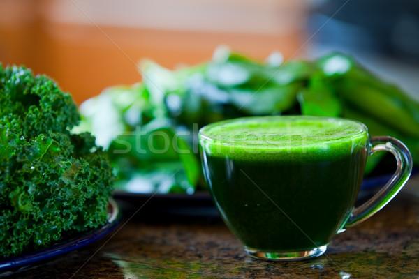 ガラス カップ 緑 野菜 ジュース キッチンカウンター ストックフォト © jarenwicklund