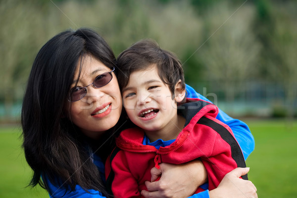 Asian mother and son together at park Stock photo © jarenwicklund