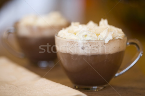 Tow cups of hot cocoa or coffee with cream topping Stock photo © jarenwicklund