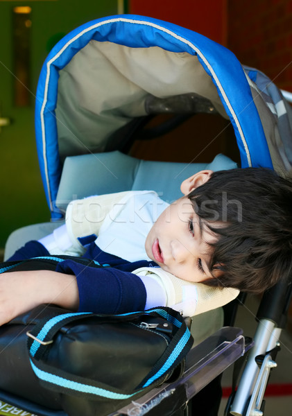 Disabled five year old boy in wheelchair waiting at school Stock photo © jarenwicklund