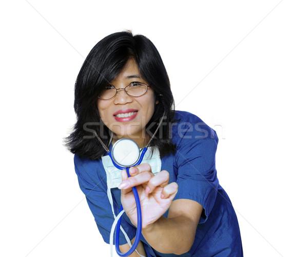 Kind nurse or doctor with stethoscope Stock photo © jarenwicklund