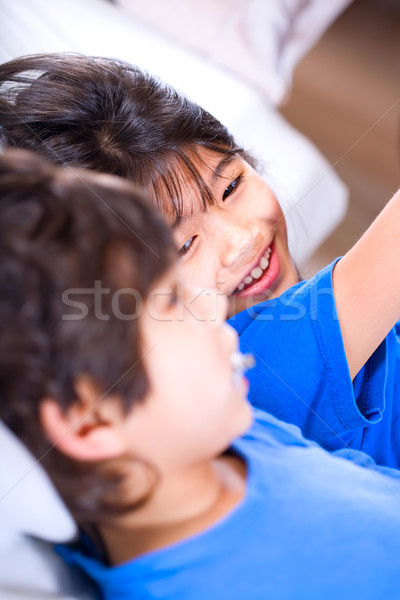 Big sister taking care of her disabled little brother Stock photo © jarenwicklund