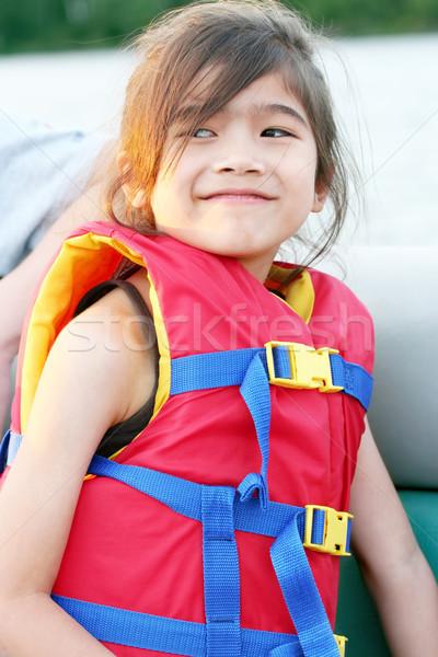 Kislány élet mellény csónak víz gyermek Stock fotó © jarenwicklund