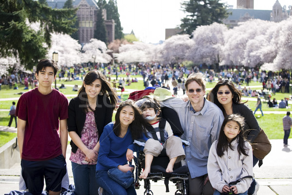 Family of seven in front of cherry blossom trees Stock photo © jarenwicklund