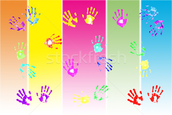 Actual handprints made by children on colorful background Stock photo © jarenwicklund