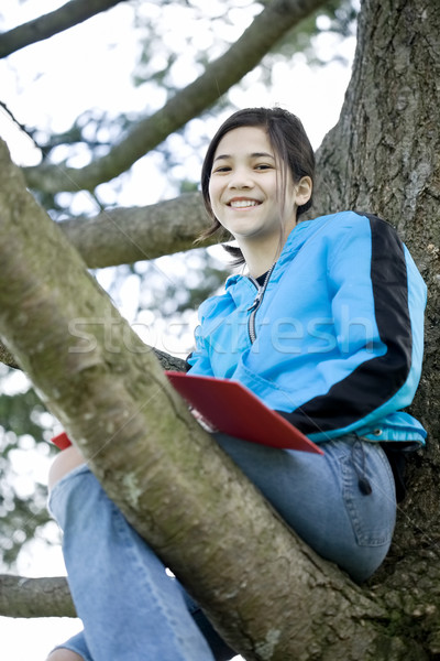 Preteen girl sitting in tree writing in journal or notebook Stock photo © jarenwicklund