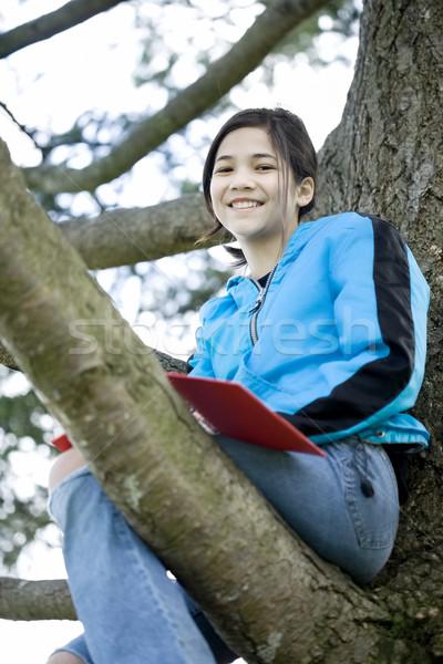 Meisje vergadering boom schrijven tijdschrift notebook Stockfoto © jarenwicklund