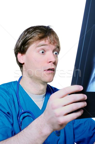 Choque raio x médico do sexo masculino olhando engraçado médico Foto stock © jarenwicklund