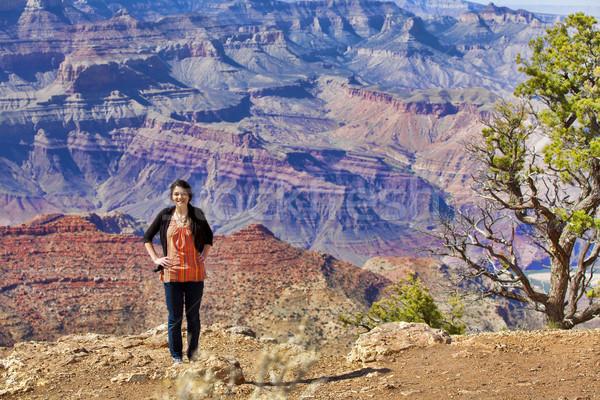 Belo menina adolescente em pé Grand Canyon mão quadril Foto stock © jarenwicklund