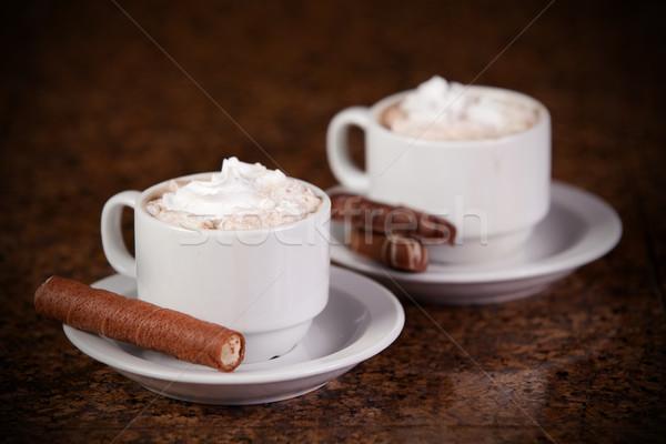 2 カップ コーヒー ホット クッキー ブラウン ストックフォト © jarenwicklund