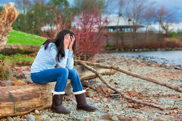 Sad young teen girl sitting on log along rocky beach by lake Stock photo © jarenwicklund